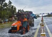 Nước ngập sâu, máy cày kiếm tiền triệu trên Quốc lộ 1