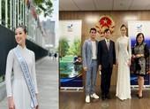 Hoa hậu Khánh Vân giản dị áo dài trắng trên đất Mỹ