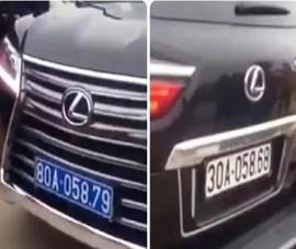 Công an xác minh xe Lexus đầu biển số xanh, đuôi biển số trắng