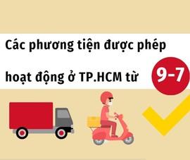 Chú ý: Những phương tiện được phép hoạt động khi TP.HCM áp dụng Chỉ thị 16