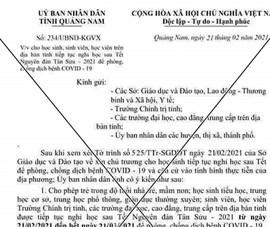 Quảng Nam: Người làm giả thông báo cho nghỉ học là học sinh TH