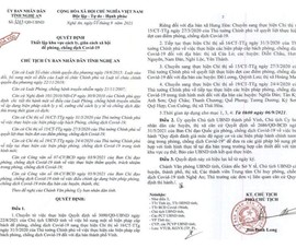 Nghệ An hỏa tốc tiếp tục thực hiện Chỉ thị 16 ở 5 huyện và TP Vinh, Cửa Lò