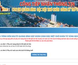 Thông tin đăng ký về quê cho người dân tại Quảng Bình, Phú Yên