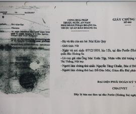 Giấy chứng sinh năm 1939 của 1 người Việt ở quần đảo Hoàng Sa
