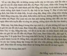 Ông Trần Vinh, Phó VP Đoàn ĐBQH Đà Nẵng, gửi thư xin lỗi nữ nhân viên y tế