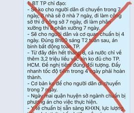 Thông tin 'không ra ngoài 7 ngày' ở Đà Nẵng thành tin đồn ở TP.HCM và Khánh Hoà
