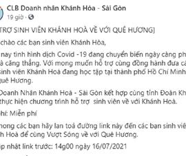 Hỗ trợ miễn phí sinh viên Khánh Hòa tại TP.HCM về quê