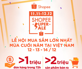 Shopee đạt kỷ lục hơn 1 triệu đơn hàng trong 72 giờ mua