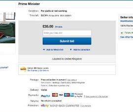 Thủ tướng Anh bị rao bán trên trang eBay