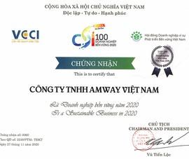 Amway Việt Nam: Top 100 DN phát triển bền vững 2020