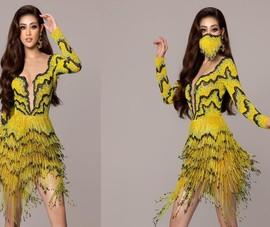 Hoa hậu Khánh Vân mặc váy 'ruộng bậc thang' trên đất Mỹ