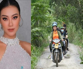 Á hậu Kim Duyên chạy xe máy, trao nhà tình thương