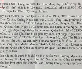 Công an Tân Bình tìm chủ xe bị mất trộm
