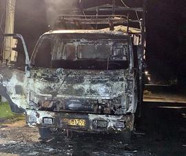 Bình Thuận xe tải đang chạy bốc cháy trên QL28