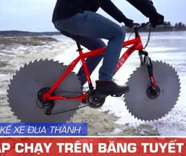 Độ xe đạp bánh lưỡi cưa sắt để đi trên băng tuyết