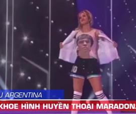 Hoa hậu Argentina cởi áo ngoài khoe hình huyền thoại Maradona