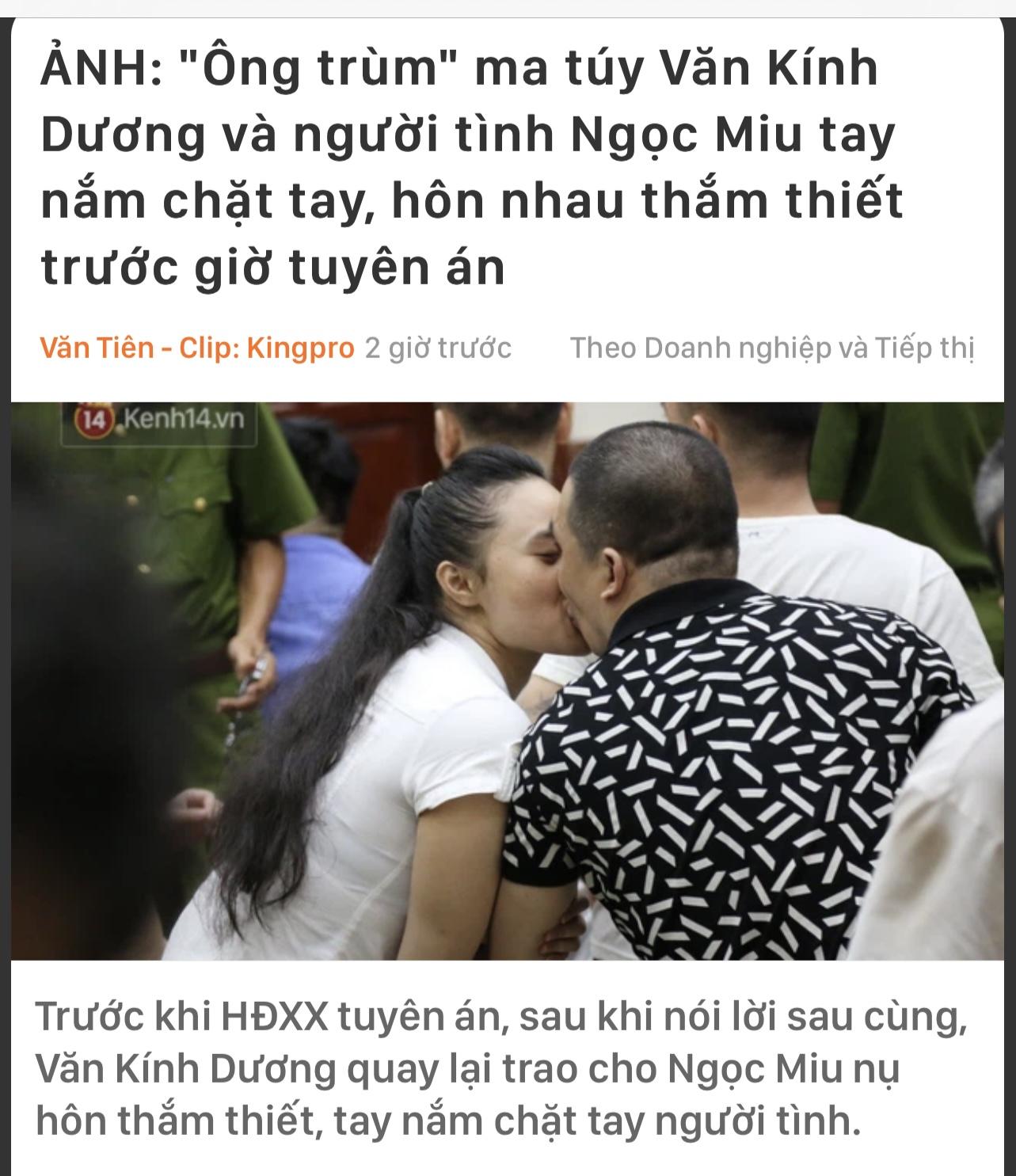 Tranh luận về hình ảnh hotgirl Ngọc Miu hôn người tình tại toà