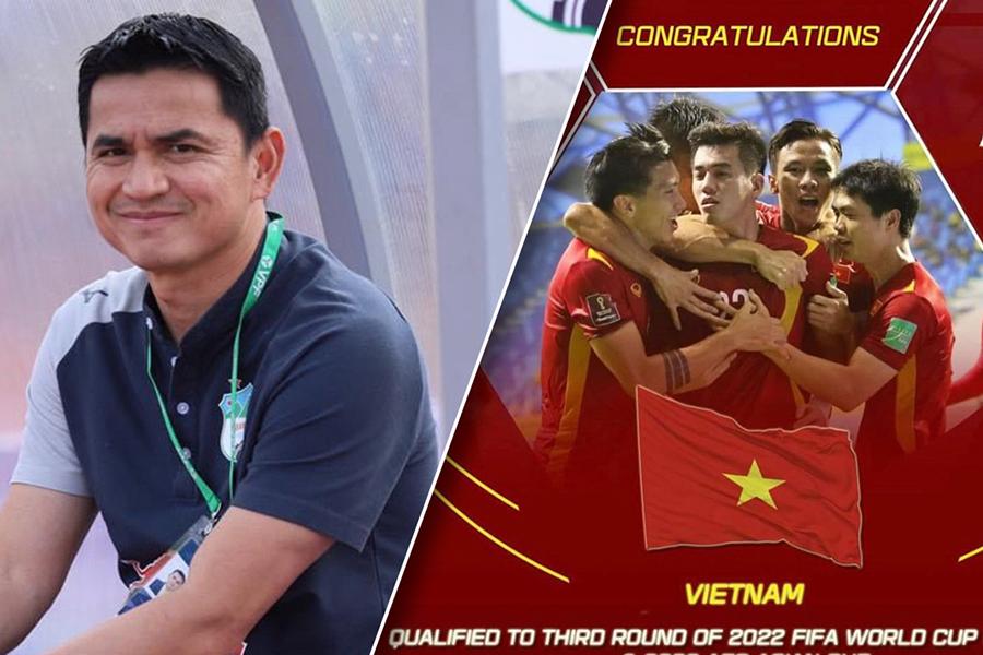 HLV Kiatisak chúc mừng Việt Nam làm nên lịch sử ở World Cup