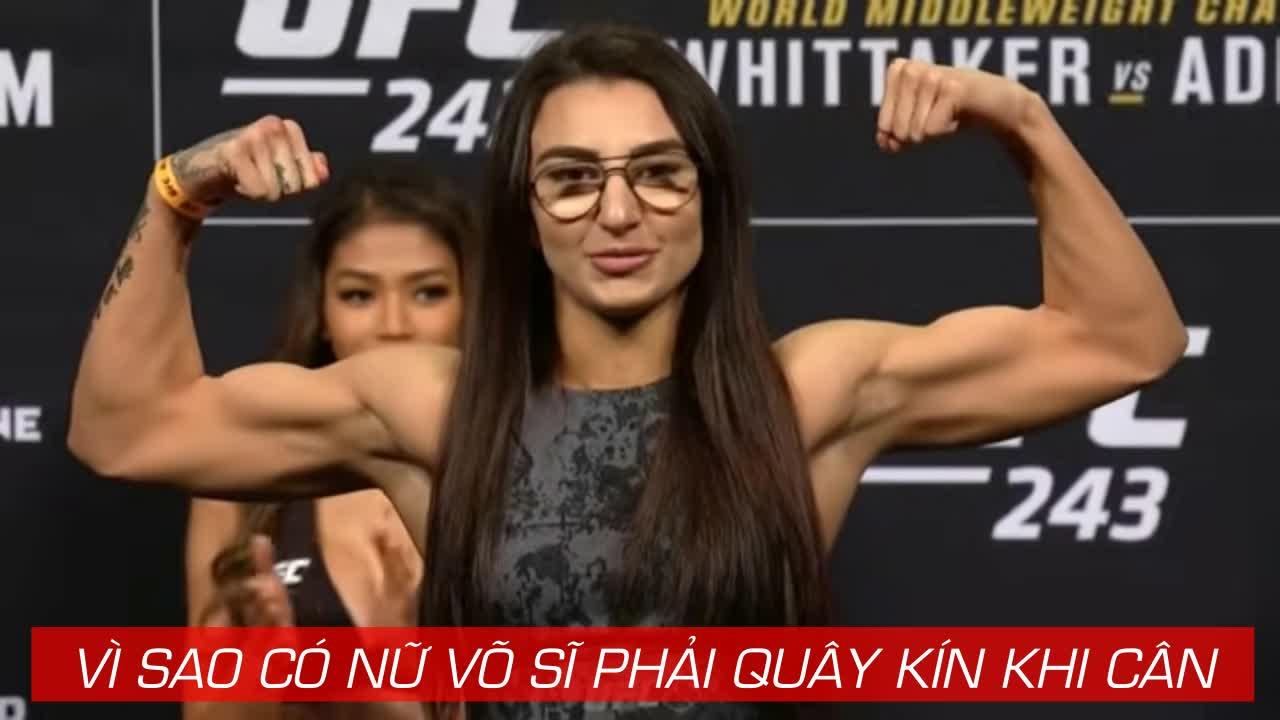 Ép cân vừa đủ, nữ võ sĩ UFC cởi bỏ hết khi cân