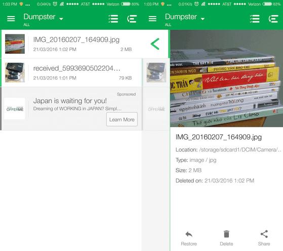 Dễ dàng phục hồi lại các tập tin đã xóa với Dumpster
