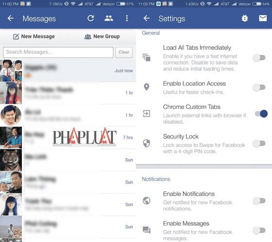 Swipe hỗ trợ nhắn tin với bạn bè mà không cần cài đặt thêm Messenger