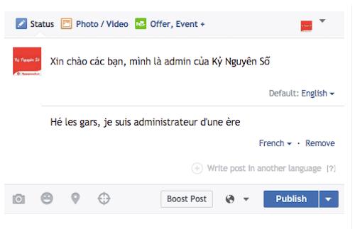 Dịch ngôn ngữ trên Facebook