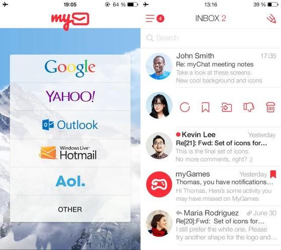 MyMail có giao diện quản lý thư từ khá đẹp mắt