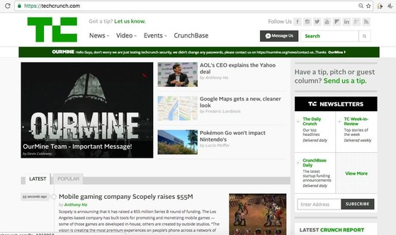 Nhóm tin tặc OurMine tấn công TechCrunch