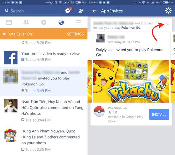 Thông báo mời chơi game pokemon go
