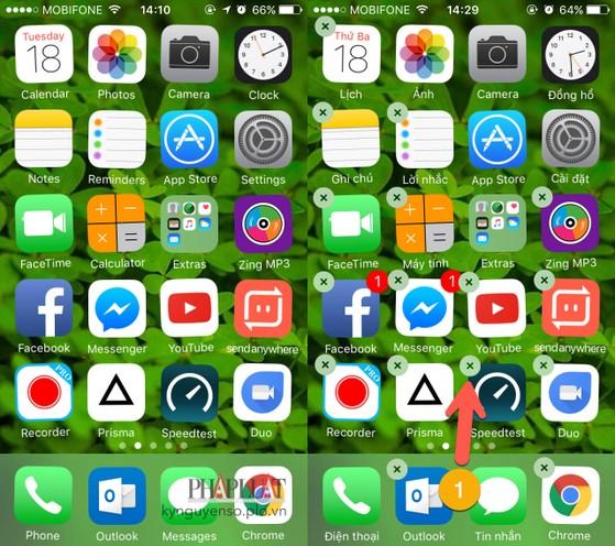 xóa ứng dụng trên iphone