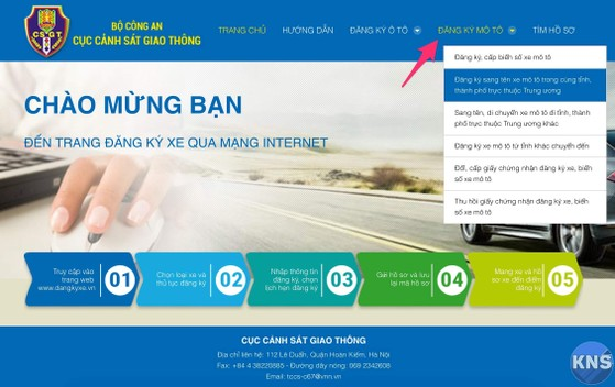 hướng dẫn cách đăng kí xe qua mạng