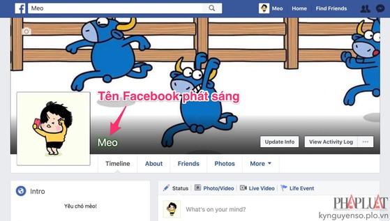 Cách làm tên Facebook phát sáng cực độc