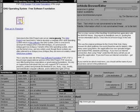 Giao diện của WorldWideWeb, trình duyệt web đầu tiên trên thế giới