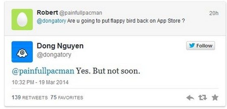 Nguyễn Hà Đông trả lời câu hỏi trên Twitter và xác nhận sẽ hồi sinh Flappy Bird