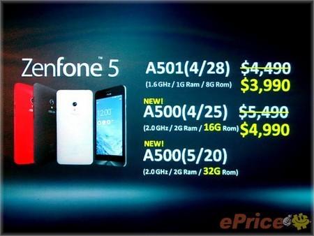 Mức giá bán và cấu hình mới của ZenFone tại thị trường Đài Loan (đơn vị tính Tân Đài Tệ)