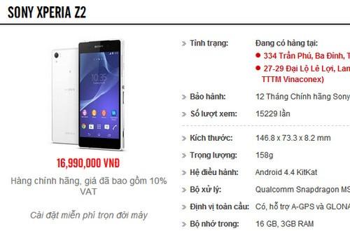Giá bán dự kiến của Xperia Z2 chính hãng.