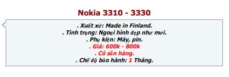 Điện thoại 3310 chào bán với ngoại hình đẹp như mới và giá từ 600 đến 800 ngàn đồng.