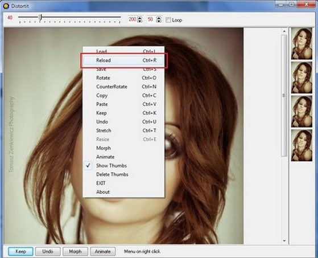 Nội dung hình ảnh được chọn sẽ hiển thị ngay trên giao diện chính của phần mềm.