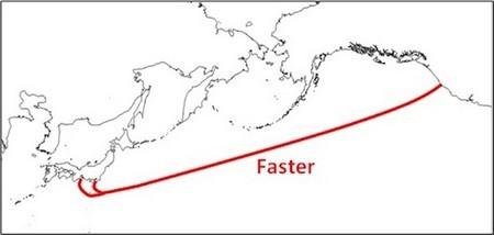 Sơ đồ tuyến cáp ngầm FASTER nối liền từ Mỹ đến Nhật Bản