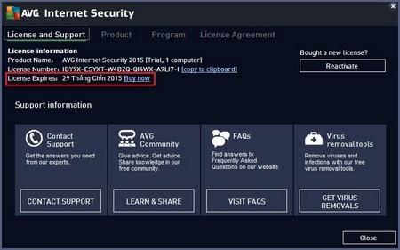 Bản quyền phần mềm được sử dụng đến tận ngày 29/9/2015