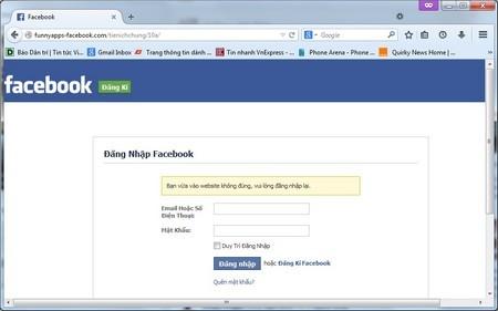 Trang web giả mạo với giao diện đăng nhập giống hệt Facebook