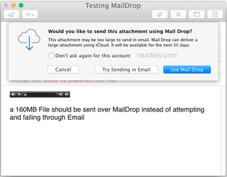 Tuyệt chiêu gửi file dung lượng lớn trên Mac OS X với Mail Drop