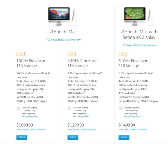 Giá bán và cấu hình của iMac 21.5 inch