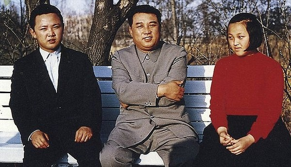 Family power: Kim Kyong-hui in 1963 with her father, then North Korean leader Kim il-Sung, and brother, Kim Jong-il, left