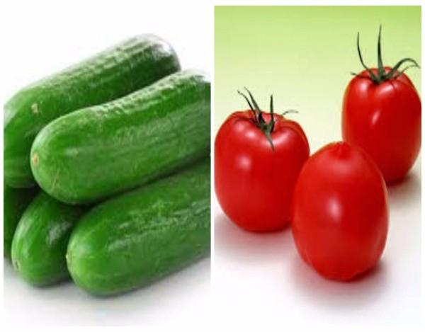 cà chua ăn với dưa leo