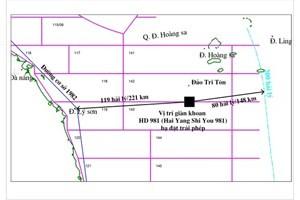 Bản đồ minh họa vị trí giàn khoan HD981 của Trung Quốc hạ đặt trái phép trong vùng đặc quyền kinh tế, thềm lục địa Việt Nam. (Nguồn: Tập đoàn Dầu khí Việt Nam).