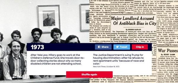 """Năm 1973: Sau khi tốt nghiệp Đại học Luật Yale, Hillary vào làm việc tại Quỹ Bảo vệ trẻ em. Bà gõ cửa từng nhà, tìm hiểu nguyên nhân việc rất nhiều trẻ em khuyết tật không được tới trường. Trong năm này, Bộ Tư pháp Mỹ kiện ông Trump liên quan đến hành vi phân biệt chủng tộc sau khi ông từ chối cho người thiểu số thuê nhà vì """"màu da và chủng tộc"""" của họ."""
