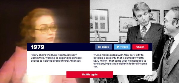 Năm 1979: Hillary Clinton làm chủ tịch Ủy ban Tư vấn sức khỏe nông thôn, tạo cơ hội tiếp cận các chương trình chăm sóc sức khỏe cho những người dân sống ở các khu vực xa xôi thuộc vùng nông thôn Arkansas. Lúc này, ông Donald Trump vừa ký thỏa thuận với thành phố New York để phát triển dự án bất động sản trị giá khoảng 530 triệu USD. Cũng trong năm này, ông Trump được cho là có hành vi trốn thuế liên bang.