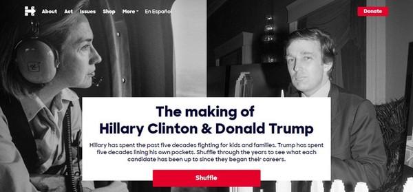 Đây là giao diện bên ngoài của công cụ điện tử mà chiến dịch tranh cử của bà Hillary Clinton đã xây dựng để giúp các cử tri dễ dàng so sánh hoạt động của hai ứng viên tổng thống theo từng năm được lựa chọn ngẫu nhiên. Giao diện ghi rõ: Điều làm nên Hillary Clinton và Donald Trump: Bà Hillary Clinton đã dành 5 thập niên đấu tranh cho trẻ em và các gia đình. Ông Donald Trump đã dành 5 thập niên để kiếm tiền. Nhìn lại những mốc thời gian để xem mỗi ứng viên đã làm những gì kể từ khi bắt đầu sự nghiệp của họ.