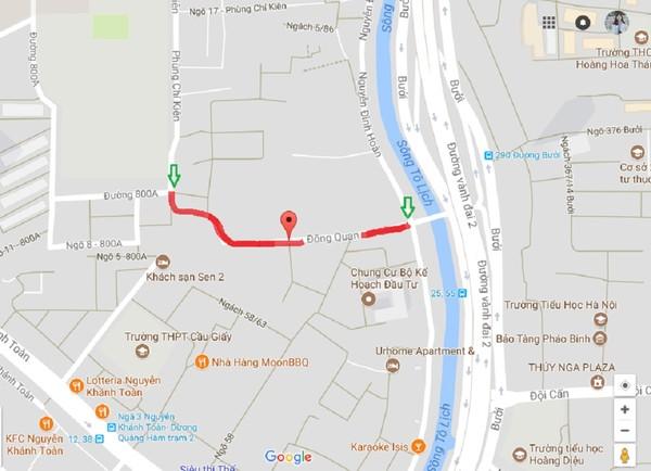 Trong 20 tuyến đường, phố mới có tên phố Trịnh Văn Bô (SN 1914-1988) nằm trên địa bàn quận Cầu Giấy (tuyến phố màu đỏ trên bản đồ).